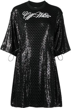 Off-White Logo-Print Sequinned Mini Dress