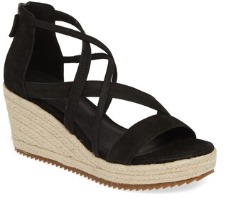 Eileen Fisher Wanda Cross Strap Wedge Espadrille Sandal