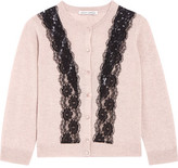 Autumn Cashmere Lace-Paneled Cashmere Cardigan