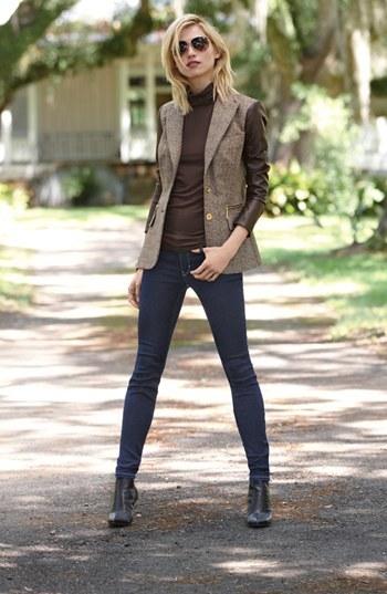 MICHAEL Michael Kors Faux Leather Sleeve Tweed Blazer