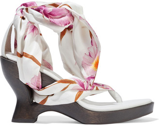 Zimmermann Floral-print Satin-twill And Leather Wedge Sandals