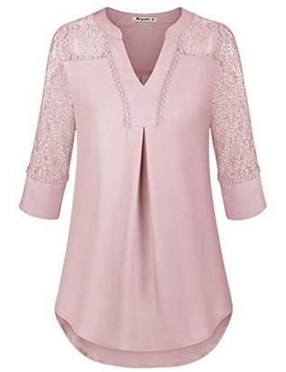 Moyabo Women's Plus Size Split V Neck 3/4 Sleeve Lace Hollow Out T Shirt Work Blouses