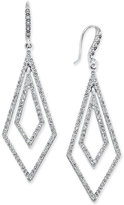 INC International Concepts Silver-Tone Geometric Pavé Crystal Drop Earrings