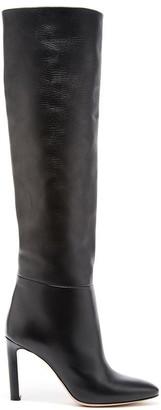 Oscar de la Renta Black Leather Margot Knee-High Boot