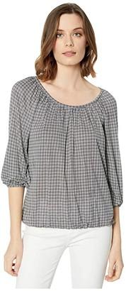 MICHAEL Michael Kors Cheeky Check Peasant Top (White) Women's T Shirt