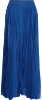 Alice + Olivia Katz Metallic Silk-blend Jacquard Maxi Skirt - Blue