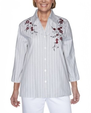Alfred Dunner Women's Madison Avenue Embroidered Stripe Shirt