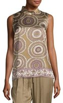 Lafayette 148 New York Fernanda Sleeveless Medallion-Print Silk Blouse, Multi