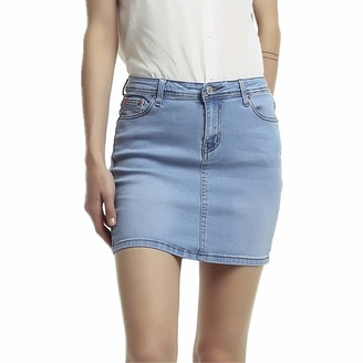 Lings Denim Skirt for Women Plus Size - Womens Denim Skirts - Ladies Skaker Mini Dress - Stretch Denim Skirt Jeans Womens - Denim Mini Skirt Ladies Skirts - A Line Skirt Denim Skir (Light Blue 6/8)