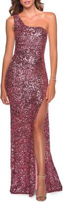 La Femme Sequin One-Shoulder Open-Back Gown