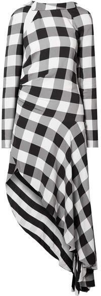 Monse Asymmetric Gingham Crepe De Chine Midi Dress - Black
