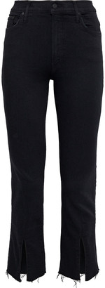 Mother The Insider Slit Cropped Frayed High-rise Skinny Jeans
