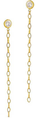 Sterling Forever Gold Plated Diamond Chain Dangle Studs