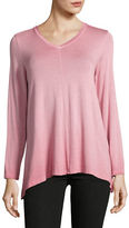 Style And Co. Petite Sharkbite Dip-Dye Knit Top