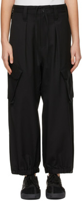 Y-3 Black Wool Cargo Wide Trousers