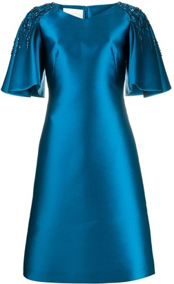 Alberta Ferretti Embellished Flutter Sleeve Dress