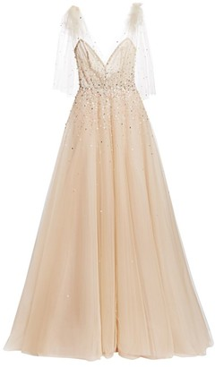 Monique Lhuillier Embellished A-Line Gown with Bow Detail