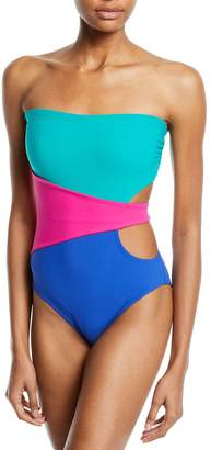 Karla Colletto Marcella Bandeau Colorblock One-Piece Swimsuit
