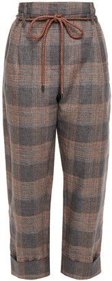 Brunello Cucinelli Cropped Belted Checked Linen-blend Straight-leg Pants