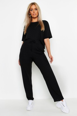 boohoo Plus Soft Rib Basic T-Shirt & Pants Co-Ord