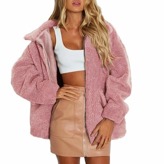 Lazzboy Womens Coat Parka Jacket Fluffy Fleece Warm Plain Baggy Outerwear Oversized Plus Size UK 8-18(2XL(16)