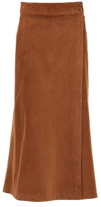 Three Graces London Theo Fine-corduroy Wrap Skirt - Brown