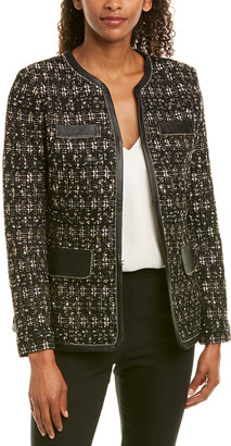 St. John Leather-Trim Wool-Blend Jacket