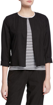 Eileen Fisher Sandwashed Long-Sleeve Short Jacket