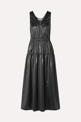 Tibi Gathered Shell Midi Dress - Black