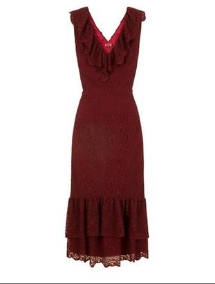 Dorothy Perkins Womens Chi Chi London Burgundy Lace Ruffle Detail Midi Dress, Burgundy