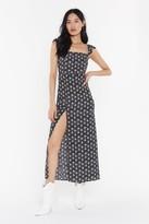 Nasty Gal Womens Let's Shake Slit Up Floral Maxi Dress - black - 12