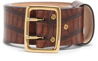 Chloé Crocodile-effect Leather Belt - Brown
