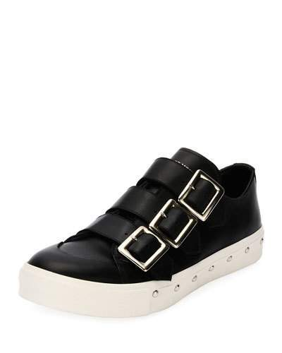 Alexander McQueen Triple-Buckle Leather Tennis Shoe, Black
