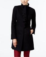 T Tahari Wool-Blend Ruffled Walker Coat