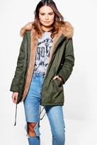 Boohoo Olivia Faux Fur Lined Hooded Parka