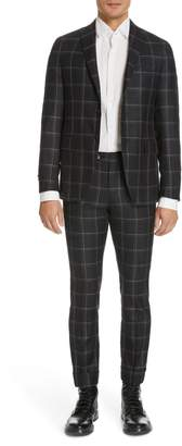 Eidos Napoli Deven Flat Front Slim Fit Plaid Wool Blend Trousers