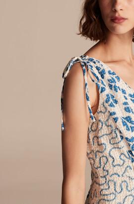 Rebecca Taylor Perla Petal Print Mix Tie Shoulder Dress