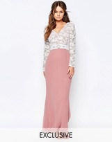 Elise Ryan Maxi Dress With Lace Bodice And Embellished Waist