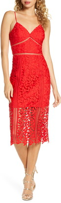 Bardot Roxy Lace Midi Cocktail Dress