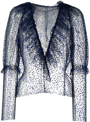 Roseanna Ruffle Texture Polka Dot Sheer Top