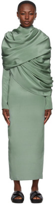 Winnie New York Green Draped Shoulder Dress