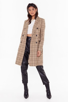 Nasty Gal Womens Checking Out Double Breasted Coat - Beige - L