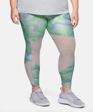 Under Armour Women's Capris Atlas - Atlas Green & Lime Light Abstract HeatGear Mesh Crop Leggings - Plus