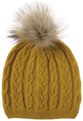 Piper Mustard Cable-Knit Beanie with Pompom