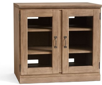 Pottery Barn Printer's Double Glass Door Cabinet, Seadrift