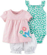 Carter's 3-Pc. Top, Diaper Cover & Bodysuit Cotton Set, Baby Girls