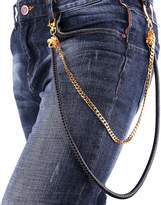 U7 Yellow Plated Copper & Black Leather Chains Men Trousers Pants Key Chain Accessories