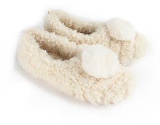 Pretty You London Dora Cosy Pom Ballerina Slippers In Cream