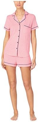 Kate Spade Modal Jersey Notch Collar Shorty PJ Set (Salmon Rose Pindot) Women's Pajama Sets