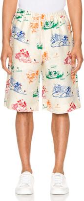 Gucci x Disney Linen Shorts in Ivory & Yard Print | FWRD